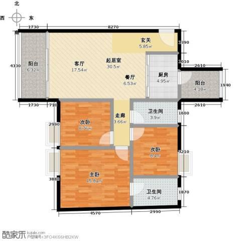 东方苑3室0厅2卫1厨100.00㎡户型图