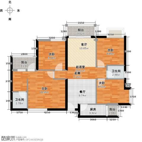 东苑花园4室0厅2卫1厨124.00㎡户型图