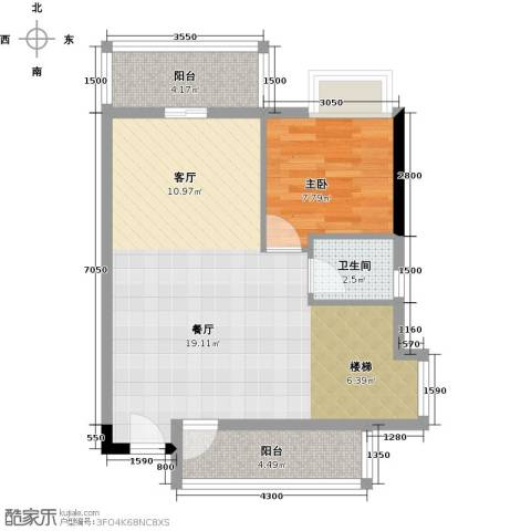 东苑花园1室0厅1卫0厨74.00㎡户型图