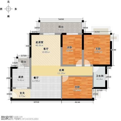 滨江水恋3室0厅1卫1厨107.00㎡户型图