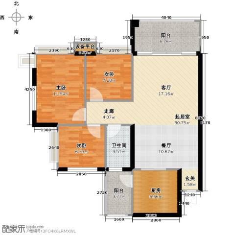 景新国际名城3室0厅1卫1厨90.00㎡户型图