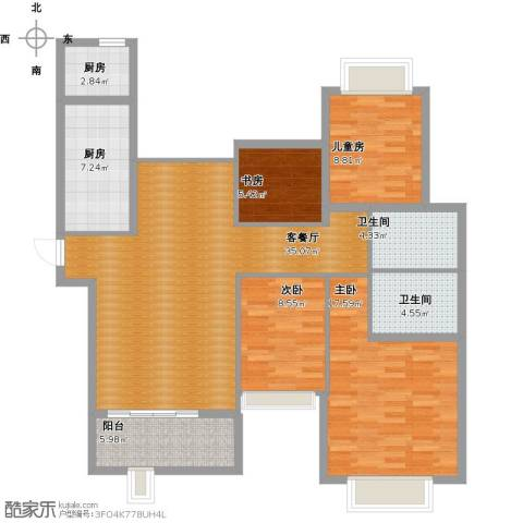 合景叠翠峰4室1厅2卫2厨142.00㎡户型图