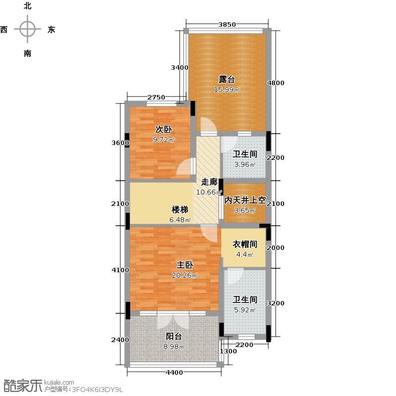 保利生态城90.75㎡47栋2二层户型2室2卫