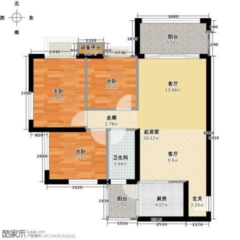景新国际名城3室0厅1卫1厨92.00㎡户型图