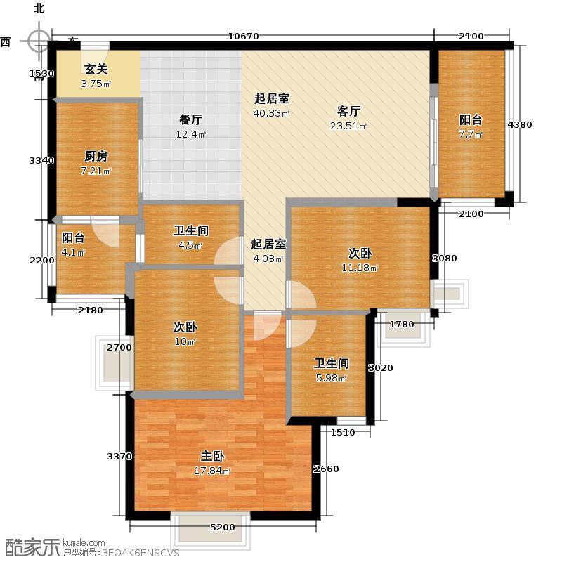 滨江水恋122.38㎡01户型3室2卫1厨