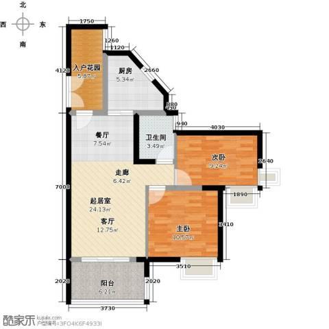 君华香柏广场2室0厅1卫1厨77.00㎡户型图