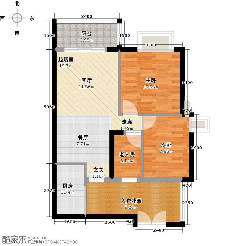 君华香柏广场78.06㎡F5户型3室1厨