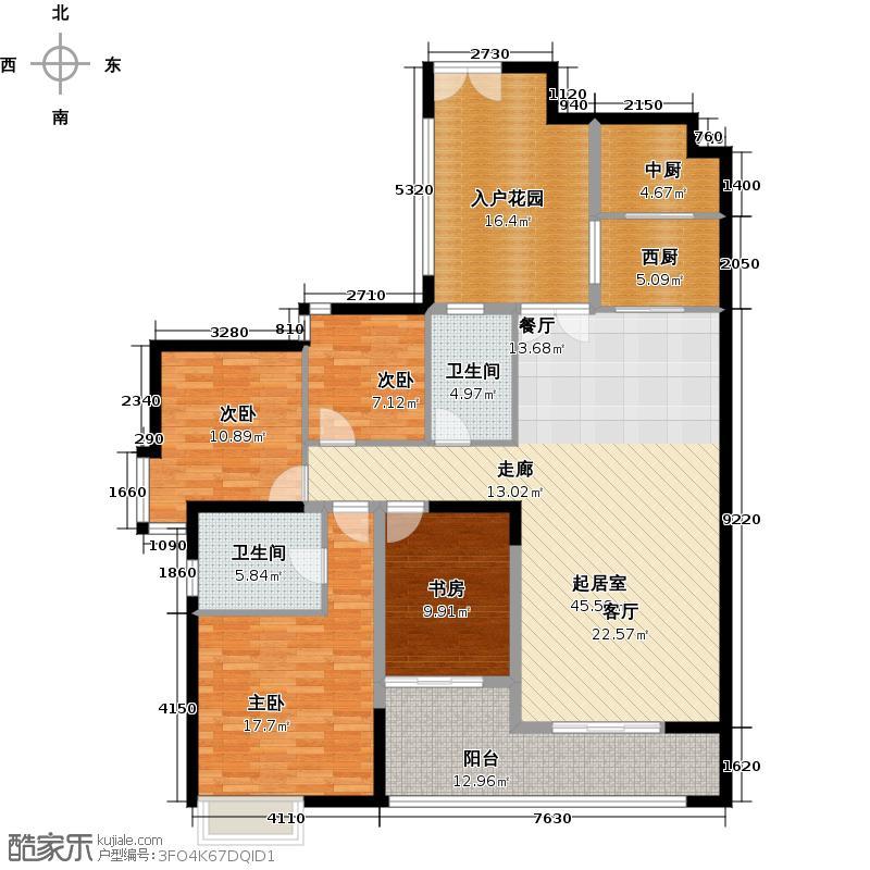 君华香柏广场159.17㎡F2户型4室2卫