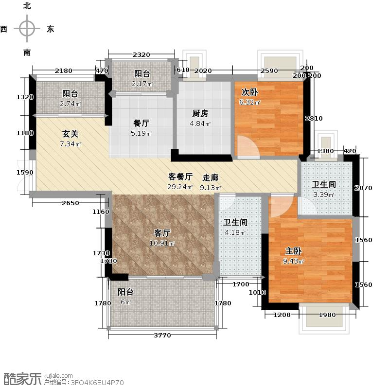 中堂东港城7号97.60㎡1栋1单元04/2单元01/3栋04户型2室1厅2卫1厨