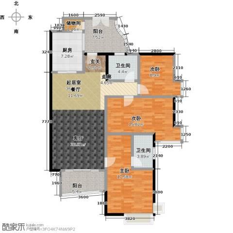 翠屏・瀚宇贵都二期3室0厅2卫1厨125.00㎡户型图