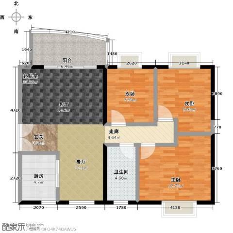 翠屏・瀚宇贵都二期3室0厅1卫1厨91.00㎡户型图