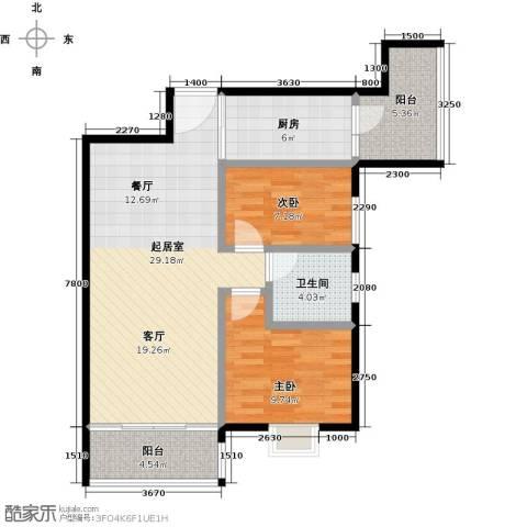 利海假日轩2室0厅1卫1厨78.00㎡户型图