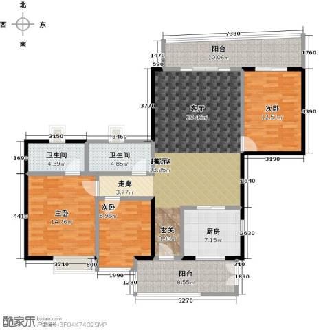 翠屏・瀚宇贵都二期3室0厅2卫1厨127.00㎡户型图