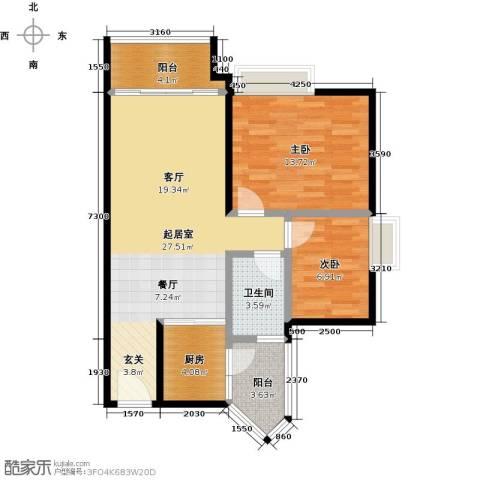 利海假日轩2室0厅1卫1厨79.00㎡户型图