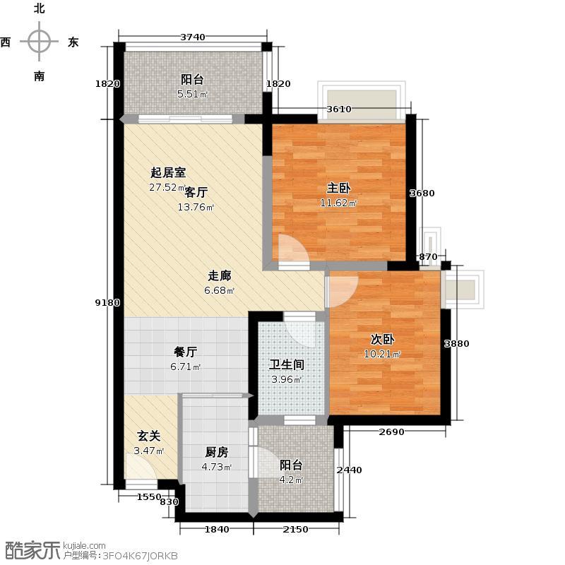 君华香柏广场78.44㎡公寓A栋A6户型2室1卫1厨