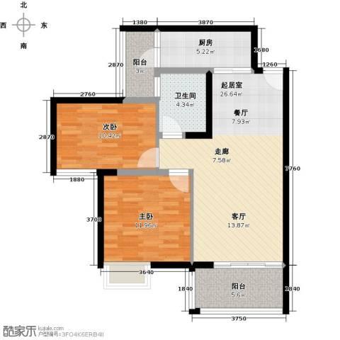 君华香柏广场2室0厅1卫1厨78.00㎡户型图