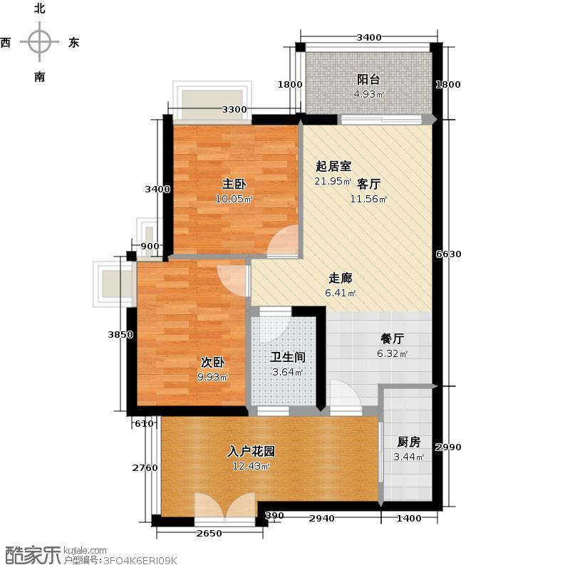 君华香柏广场78.06㎡F4户型2室1卫1厨