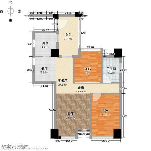 虎门地标2室1厅1卫1厨92.00㎡户型图