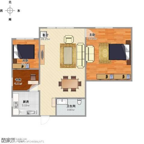 恒幸花园3室1厅1卫1厨89.00㎡户型图