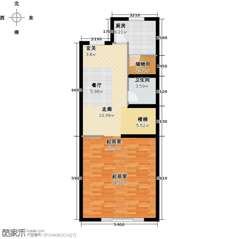 尚东庭72.95㎡A区A3号楼6单元一层户型1卫1厨