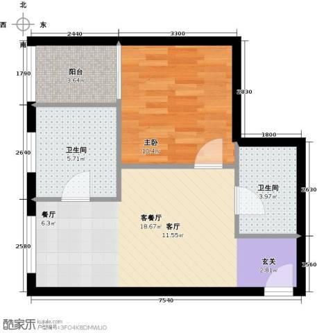珠江拉维小镇1室1厅2卫0厨55.00㎡户型图