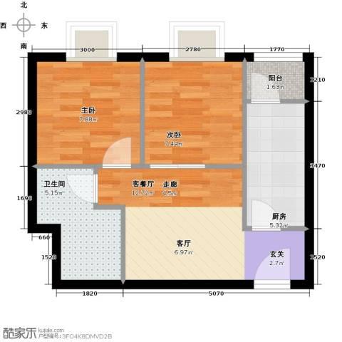 珠江拉维小镇2室1厅1卫1厨53.00㎡户型图