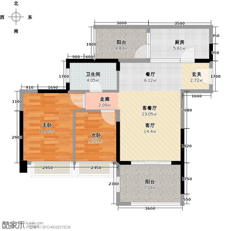 迪纳酒店公寓70.23㎡户型2室1厅1卫1厨