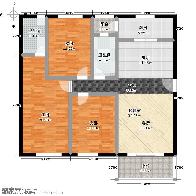 祈福新村111.71㎡23栋2/F-01户型3室2卫1厨