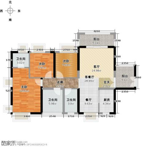 保利未来城市3室1厅3卫1厨110.00㎡户型图