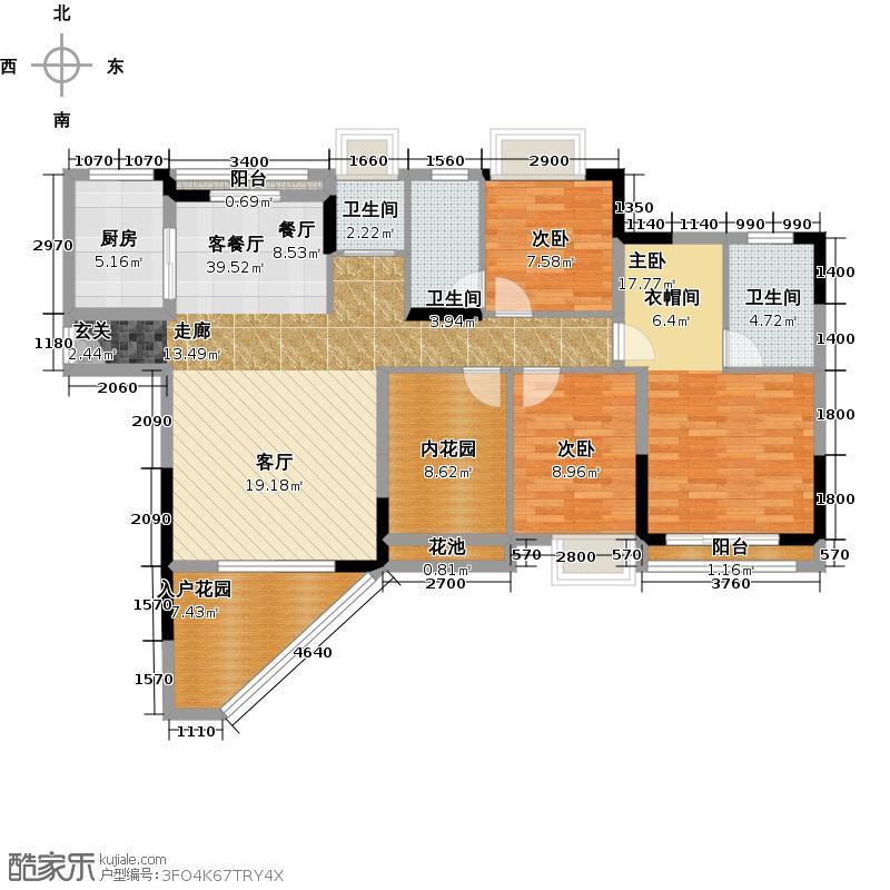 现代印象华庭125.52㎡2-A户型3室1厅3卫1厨