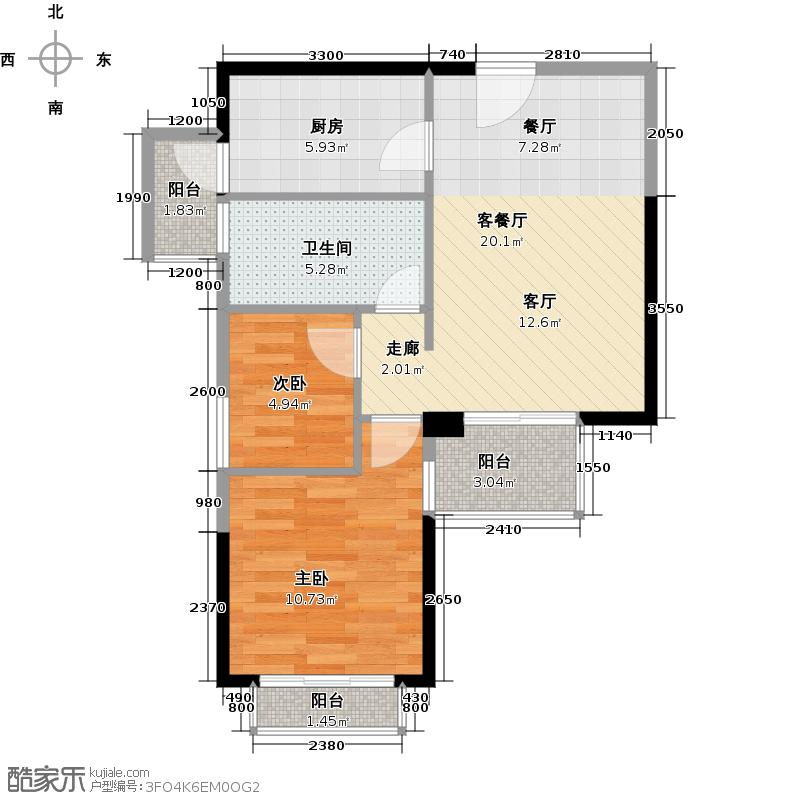 迪纳酒店公寓60.25㎡户型2室1厅1卫1厨
