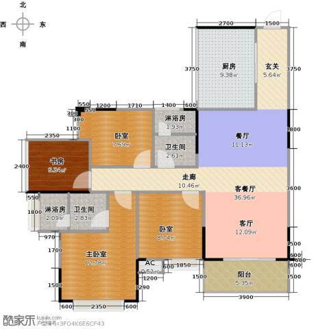 中惠香樟半岛1室1厅2卫1厨97.22㎡户型图