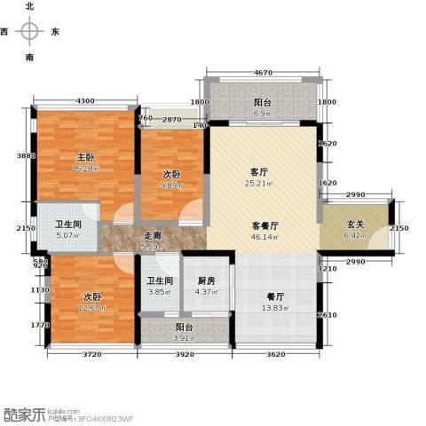 怡安皇庭3室1厅2卫1厨124.00㎡户型图