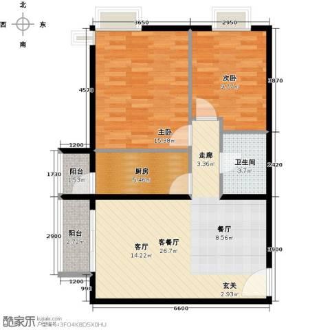 优品国际公寓2室1厅1卫1厨90.00㎡户型图