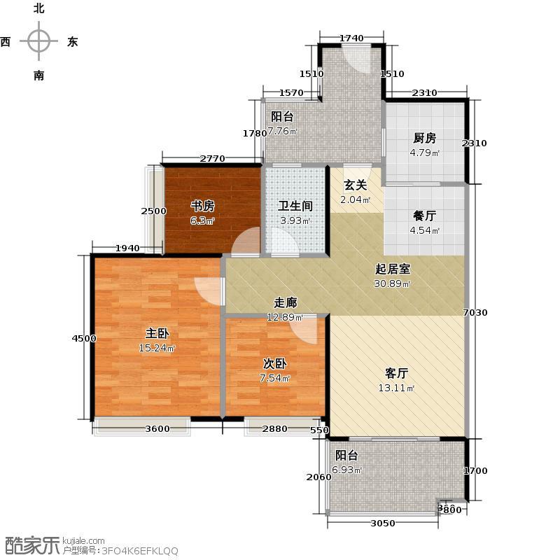 保利生态城89.85㎡184栋4户型3室1卫1厨