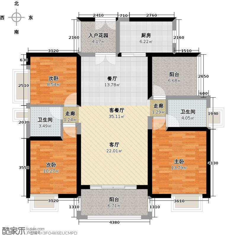 保利未来城市131.00㎡3/5栋03户型3室1厅2卫1厨