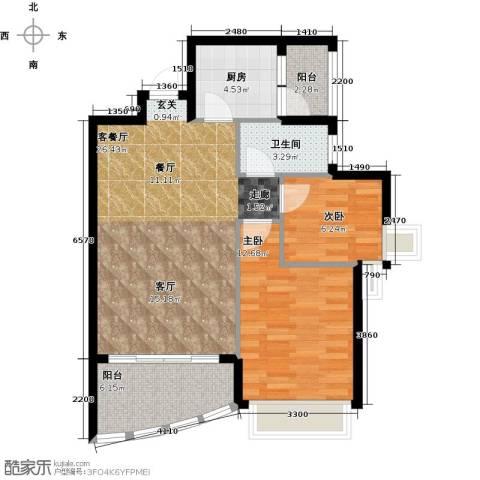 罗马景苑2室1厅1卫1厨88.00㎡户型图