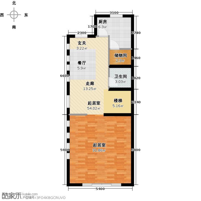 尚东庭72.77㎡A区A3号楼8单元一层户型1卫1厨