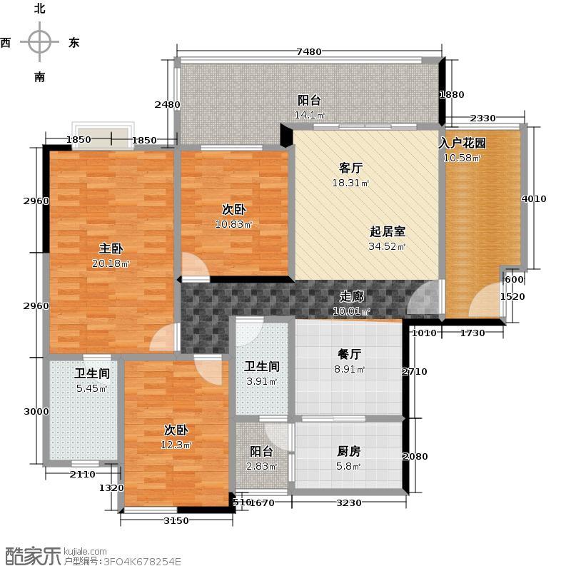 珠光南沙御景135.13㎡5栋03单元户型3室2卫1厨
