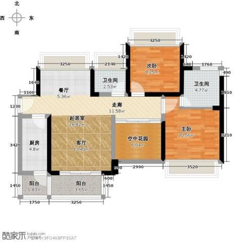 富通天邑湾一期2室0厅2卫1厨94.00㎡户型图