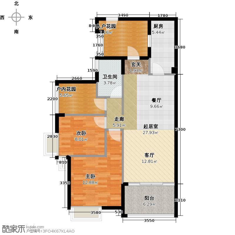 御华园90.00㎡9座4~28层偶数层02户型2室1卫1厨