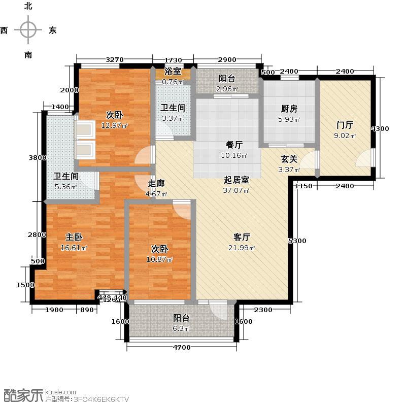 南沙城136.00㎡盛汇公馆A3单位户型3室2卫1厨