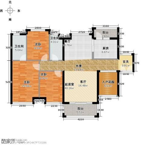 长隆珑翠3室0厅2卫1厨126.00㎡户型图