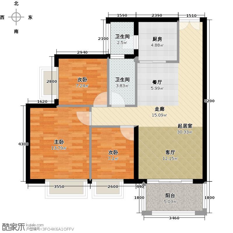 富力金港城93.00㎡F10栋3-16层02户型3室2卫1厨