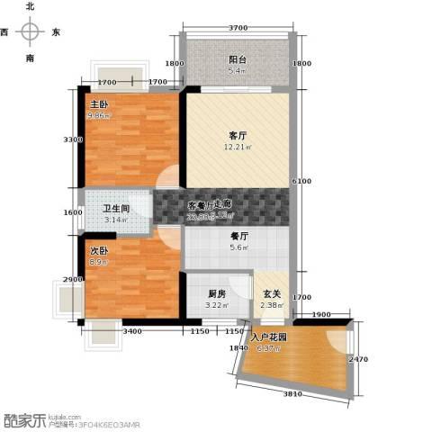 香樟国际2室1厅1卫1厨87.00㎡户型图
