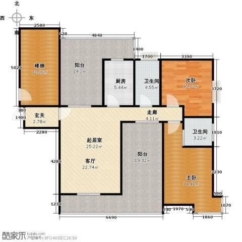 新世纪星城海涛居2室0厅2卫1厨111.93㎡户型图