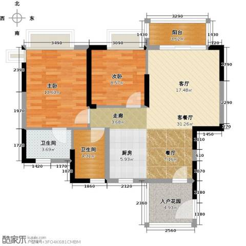 棕榈泉五期2室1厅2卫0厨100.00㎡户型图