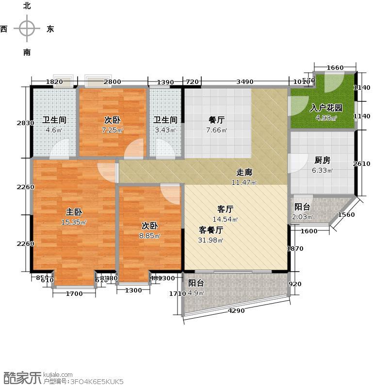 泊雅湾96.78㎡A6栋3层0户型3室1厅2卫1厨