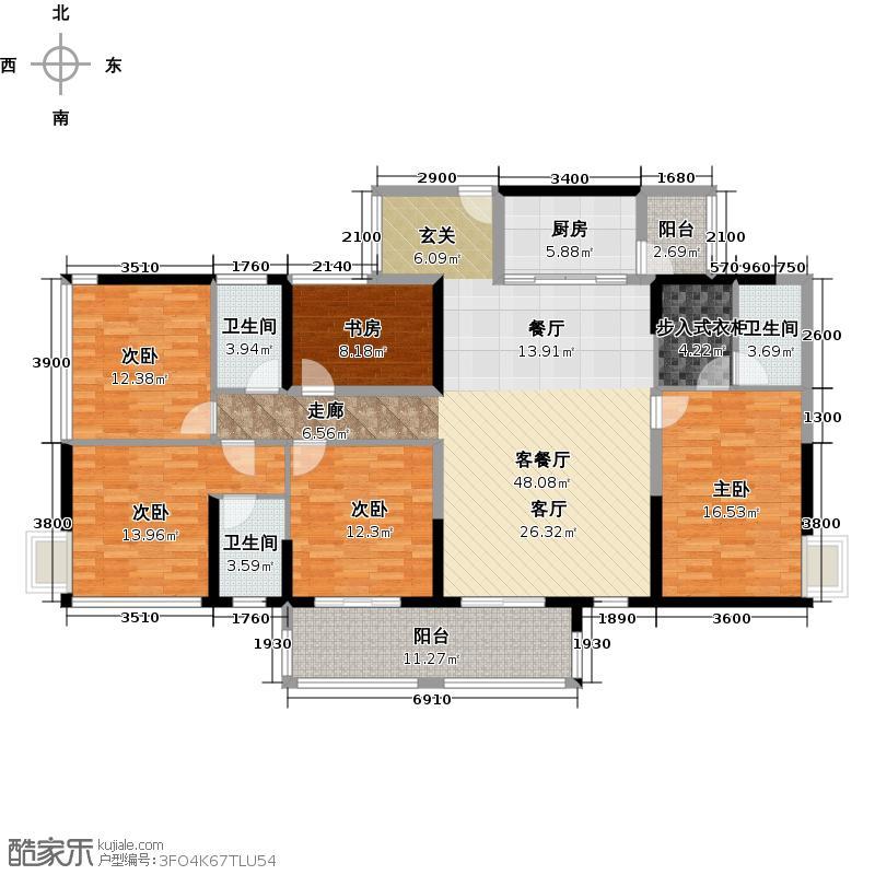 怡安皇庭180.00㎡B1户型5室1厅3卫1厨