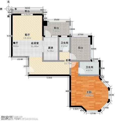 金海岸花园二期1室0厅2卫1厨97.00㎡户型图